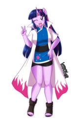 Size: 2333x3500 | Tagged: anthro, artist:danmakuman, clothes, crossover, feet, kunoichi, naruto, ninja, one eye closed, plantigrade anthro, safe, sandals, simple background, smiling, solo, transparent background, twilight sparkle, wink