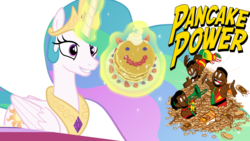 Size: 6000x3375 | Tagged: alicorn, a royal problem, big e, food, kofi kingston, new day (stable), pancakes, princess celestia, safe, simple background, transparent background, vector, wwe, xavier woods