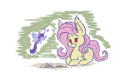 Size: 1280x800 | Tagged: safe, artist:heir-of-rick, fluttershy, twilight sparkle, bat pony, breezie, pony, miss pie's monsters, abstract background, atg 2018, book, breeziefied, colored sketch, duo, fangs, female, flutterbat, hidden cane, mare, newbie artist training grounds, race swap, reading, species swap, twilight breezie