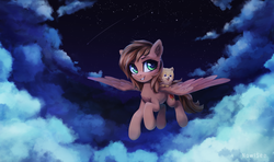 Size: 3645x2160 | Tagged: artist:inowiseei, cloud, dog, flying, night, oc, oc:katherine, safe, solo