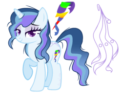 Size: 1128x886 | Tagged: artist:eclispeluna, female, magical lesbian spawn, mare, oc, oc:electric silk, offspring, parent:rainbow dash, parent:rarity, parents:raridash, pony, reference sheet, safe, solo, unicorn