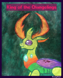 Size: 1027x1280 | Tagged: artist:krazykari, changedling, changeling, king thorax, safe, solo, thorax, traditional art