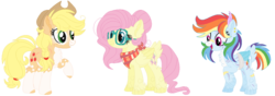 Size: 1024x360 | Tagged: alternate design, applejack, artist:bezziie, bandage, fluttershy, glasses, older, pony, rainbow dash, safe, simple background, transparent background