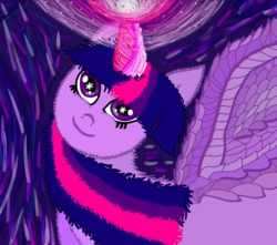 Size: 1600x1414 | Tagged: alicorn, artist:katya, cute, female, happy, horn, magic, pony, safe, simple background, solo, twilight sparkle, twilight sparkle (alicorn), wings
