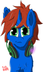 Size: 2266x3829 | Tagged: safe, artist:tiorafajp, oc, oc only, oc:cyberpon3, pony, unicorn, fluffy, headphones, male, simple background, solo, stallion, transparent background