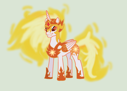 Size: 1092x788 | Tagged: armor, a royal problem, artist:dasucs, artist:mtad2, daybreaker, fire, fire hair, green background, safe, simple background, solo