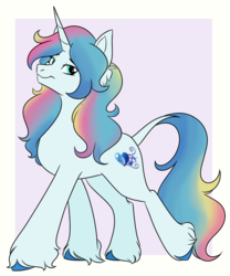 Size: 1000x1200 | Tagged: safe, artist:itstaylor-made, oc, oc only, oc:sapphire heart song, classical unicorn, pony, unicorn, cloven hooves, female, leonine tail, mare, simple background, solo, strut, unshorn fetlocks