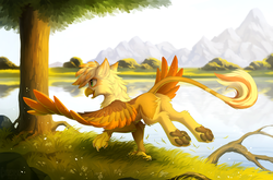 Size: 1280x847 | Tagged: artist:hioshiru, commission, eared griffon, griffon, griffon oc, lake, mountain, oc, oc:ember burd, oc only, paws, pond, safe, scenery, smiling, solo, spread wings, tree, underpaw, wings, ych result