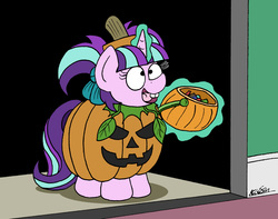 Size: 1974x1554 | Tagged: safe, artist:bobthedalek, starlight glimmer, pony, unicorn, adorkable, atg 2018, bobthedalek is trying to murder us, bucket, bucktooth, candy, clothes, costume, cute, dork, female, filly, filly starlight glimmer, food, glimmerbetes, glowing horn, halloween, hnnng, holiday, jack-o-lantern, magic, newbie artist training grounds, nightmare night, pigtails, pumpkin, pumpkin bucket, pumpky wumpkin, solo, telekinesis, trick or treat, weapons-grade cute, younger