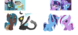 Size: 666x300 | Tagged: artist:canine-sketch, baby, baby pony, discolis, discord, female, hybrid, interspecies offspring, lesbian, magical lesbian spawn, male, offspring, parent:discord, parent:queen chrysalis, parents:discolis, parents:twixie, parent:trixie, parent:twilight sparkle, pony, queen chrysalis, safe, shipping, simple background, straight, transparent background, trixie, twilight sparkle, twixie