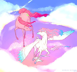 Size: 2850x2666 | Tagged: safe, artist:ashleeritson, skywishes, star catcher, butterfly, earth pony, horse, pegasus, pony, cloud, day, female, flying, g3, lesbian, looking at each other, mare, part of a set, shipping, sky, skycatcher, unshorn fetlocks