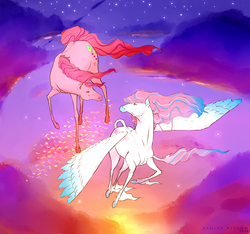 Size: 2850x2666 | Tagged: safe, artist:ashleeritson, skywishes, star catcher, butterfly, earth pony, horse, pegasus, pony, cloud, female, flying, g3, lesbian, looking at each other, mare, night, part of a set, shipping, sky, skycatcher, unshorn fetlocks
