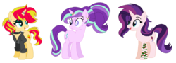 Size: 1243x441   Tagged: safe, artist:fandom-crockpot, artist:mlpfangirl17, artist:selenaede, starlight glimmer, sunset shimmer, oc, oc:evening glitter, pony, unicorn, icey-verse, alternate hairstyle, base used, bedroom eyes, choker, clothes, ear piercing, earring, eye scar, eyeshadow, family, female, goth, horn ring, jacket, jewelry, leather jacket, lesbian, magical lesbian spawn, makeup, mare, mother and daughter, next generation, offspring, open mouth, parent:starlight glimmer, parent:sunset shimmer, parents:shimmerglimmer, piercing, ring, scar, shimmerglimmer, shipping, simple background, spiked choker, tattoo, wedding ring, white background