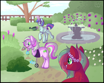 Size: 1250x1000 | Tagged: safe, artist:lulubell, oc, oc only, oc:berry mojito, oc:bound novel, oc:mint melon mojito, earth pony, pony, unicorn, amputee, flower, flower in hair, fountain, garden, glowing horn, magic, mouth hold, telekinesis