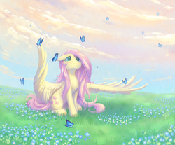 Size: 2300x1900 | Tagged: safe, artist:peachmayflower, fluttershy, butterfly, pegasus, pony, cute, female, floppy ears, grass, grass field, large wings, looking at something, looking up, mare, nature, shyabetes, sitting, solo, spread wings, wings