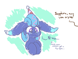 Size: 540x415 | Tagged: safe, artist:heir-of-rick, oc, oc only, oc:sapphire lollipop, earth pony, pony, abstract background, confetti, crying, dialogue, female, floppy ears, hat, i'm not crying, impossibly large ears, mare, offscreen character, party hat, solo