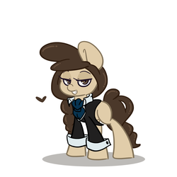 Size: 1500x1500 | Tagged: artist:lou, blank flank, clothes, cuffs (clothes), earth pony, female, heart, lidded eyes, looking at you, mare, necktie, oc, oc:louvely, oc only, pony, safe, simple background, solo, white background