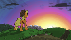 Size: 1280x720 | Tagged: 4everfreebrony, applejack, artist:tadpoledude, cloud, commission, grass, mountain, path, safe, sun, sunset