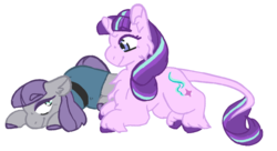 Size: 904x493 | Tagged: artist:the-forgetful-artist, cheek fluff, chest fluff, classical unicorn, cloven hooves, ear fluff, earth pony, female, leonine tail, lesbian, looking at you, maud pie, pony, safe, shipping, simple background, smiling, starlight glimmer, starmaud, transparent background, unicorn, unshorn fetlocks