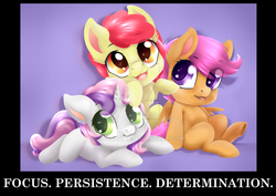 Size: 1024x724 | Tagged: apple bloom, artist:tokokami, chibi, cute, cutie mark crusaders, determination, focus, motivational, motivational poster, obtrusive watermark, persistent, poster, safe, scootaloo, sweetie belle, watermark