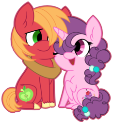 Size: 897x962 | Tagged: artist:missmele-madness, big macintosh, chibi, female, male, pony, safe, shipping, simple background, straight, sugar belle, sugarmac, transparent background