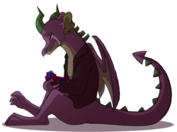 Size: 2732x2048 | Tagged: artist:percy-mcmurphy, changedling, changeling, changepony, crying, dragon, foal, male, oc, oc:alistair, older, older spike, parents:twirax, parent:thorax, parent:twilight sparkle, safe, simple background, sitting, spike, straight, transparent background, winged spike