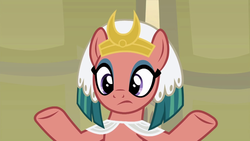 Size: 1280x720 | Tagged: safe, screencap, somnambula, pony, a rockhoof and a hard place, female, frown, interrupted, mare, meditating, omnambula, solo