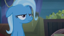 Size: 1255x706   Tagged: safe, screencap, trixie, pony, unicorn, road to friendship, female, floppy ears, mare, solo, tired, trixie is not amused, unamused