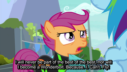 Size: 1280x720 | Tagged: safe, screencap, rainbow dash, scootaloo, pegasus, pony, the washouts (episode), banner, discussion in the comments, duo, duo female, emphasis, existential crisis, feels, female, filly, folded wings, mare, punctuated for emphasis, scootaloo can't fly, scootasad, subtitles, text, upset, washouts uniform, wings