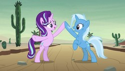 Size: 1280x720 | Tagged: safe, screencap, starlight glimmer, trixie, pony, unicorn, road to friendship, cute, desert, diatrixes, duo, duo female, female, friendship chant, glimmerbetes, mare, messy mane, rearing, saguaro cactus, smiling
