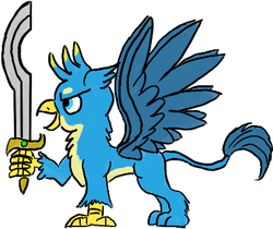 Size: 403x338 | Tagged: artist:horsesplease, gallus, griffon, khopesh, safe, smiling, solo, spread wings, sword, weapon, wings