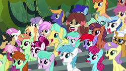 Size: 1280x720 | Tagged: amber grain, audience, aura (character), background pony, background pony audience, bleachers, bluebonnet, changedling, changeling, cheerilee, dizzy twister, earth pony, female, friendship student, lightning bolt, male, mare, moondancer's sister, morning roast, ocellus, orange swirl, pegasus, pony, safe, screencap, stallion, strawberry scoop, sunshine petals, the washouts (episode), twinkleshine, unicorn, unnamed pony, white lightning, yak, yona
