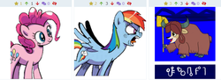 Size: 861x312 | Tagged: angry, derpibooru, hammer, juxtaposition, meta, pinkie pie, rainbow dash, safe, yelling, yona