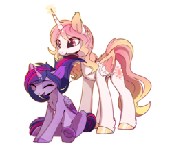 Size: 1810x1545   Tagged: safe, artist:magnaluna, princess celestia, twilight sparkle, alicorn, alternate design, alternate hairstyle, brush, brushie, chest fluff, cute, cutelestia, daaaaaaaaaaaw, ear fluff, female, happy, heart, heart hoof, laughing, lesbian, levitation, magic, magnaluna is trying to murder us, missing accessory, shipping, simple background, telekinesis, transparent background, twilestia, twilight sparkle (alicorn), weapons-grade cute, wholesome, wingding eyes