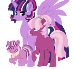 Size: 1000x940 | Tagged: safe, artist:rosebuddity, cheerilee, twilight sparkle, oc, oc:lilac radiance, alicorn, earth pony, pony, unicorn, cheerilight, family, female, filly, glasses, height difference, lesbian, magical lesbian spawn, mare, missing cutie mark, offspring, parent:cheerilee, parent:twilight sparkle, parents:cheerilight, shipping, simple background, twilight sparkle (alicorn), white background