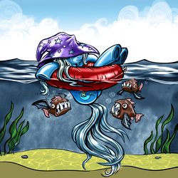Size: 1662x1662 | Tagged: safe, artist:harwick, color edit, edit, trixie, biteacuda, fish, pony, unicorn, atg 2018, clothes, colored, female, hat, inner tube, mare, newbie artist training grounds, smiling, solo, this will end in pain, this will end in tears, trixie's hat, underhoof, water, wet mane