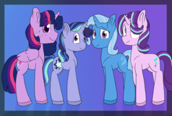 Size: 1868x1264 | Tagged: safe, artist:romans-nerd-art, starlight glimmer, trixie, twilight sparkle, alicorn, family, female, lesbian, magical lesbian spawn, offspring, parent:starlight glimmer, parent:trixie, parent:twilight sparkle, parents:startrix, parents:twistarlight, parents:twixie, parents:twixstar, shipping, startrix, twilight sparkle (alicorn), twistarlight, twixie, twixstar