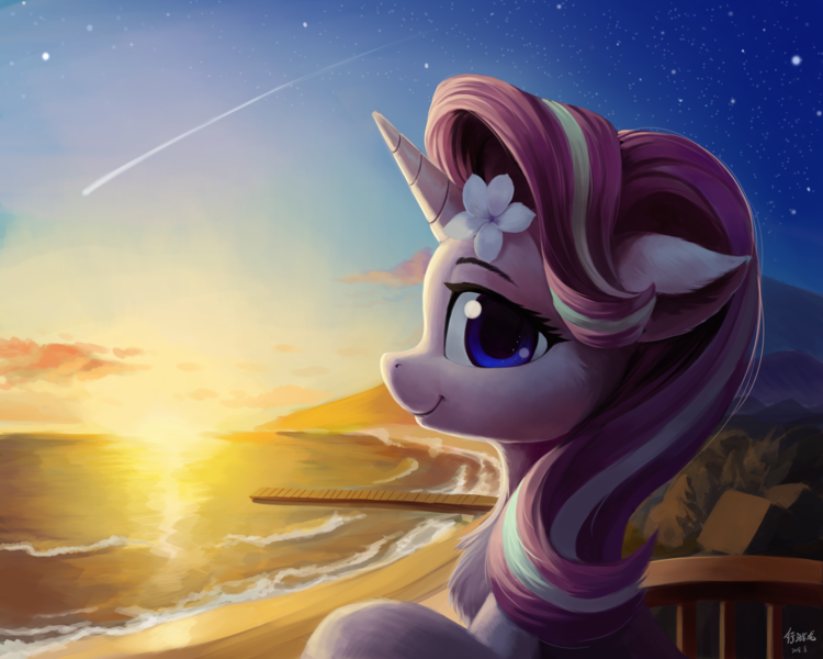 Size: 5000x4000 | Tagged: absurd res, artist:draconidsmxz, balcony, beach, beautiful, bust, chest fluff, cute, ear fluff, featured image, female, floppy ears, flower, flower in hair, glimmerbetes, hibiscus, horn, looking at you, mare, pier, pony, portrait, profile, safe, shooting star, smiling, solo, starlight glimmer, stars, sunset, unicorn