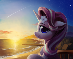 Size: 5000x4000 | Tagged: safe, artist:draconidsmxz, starlight glimmer, pony, unicorn, absurd resolution, balcony, beach, beautiful, bust, chest fluff, cute, ear fluff, featured image, female, floppy ears, flower, flower in hair, glimmerbetes, hibiscus, horn, looking at you, mare, pier, portrait, profile, shooting star, smiling, solo, stars, sunset, sweet dreams fuel