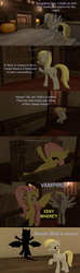 Size: 1280x4320 | Tagged: safe, artist:papadragon69, derpy hooves, fluttershy, bat pony, 3d, coffin, comic, flutterbat, hole in the wall, hypocrisy, manor, old master q, parody, race swap, scared, source filmmaker, yelling