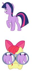 Size: 1018x2234 | Tagged: artist needed, safe, apple bloom, twilight sparkle, earth pony, pony, unicorn, binoculars, female, lesbian, missing cutie mark, plot, shipping, twibloom, unicorn twilight