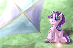 Size: 1024x683 | Tagged: artist:kaliner123, chest fluff, cute, ear fluff, female, fluffy, glimmerbetes, kite, mare, pony, safe, sitting, smiling, solo, starlight glimmer, that pony sure does love kites, unicorn