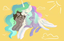 Size: 1279x819 | Tagged: alicorn, artist:microwaved-box, bisexual, celestibra, celestihopbra, eyes closed, female, hopebra, hopelestia, hug, idw, king sombra, male, mare, missing accessory, nuzzling, ot3, polyamory, pony, princess celestia, radiant hope, safe, shipping, snuggling, stallion, straight, unicorn