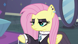 Size: 1280x720 | Tagged: safe, screencap, fluttershy, pegasus, pony, fake it 'til you make it, eyeshadow, female, fluttergoth, goth, hoof hold, makeup, mare, solo