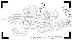 Size: 1152x648 | Tagged: artist:sintakhra, black and white, book, changedling, changeling, cute, grayscale, laying down, monochrome, ocellus, offscreen character, photo, safe, simple background, sleeping, text, tumblr