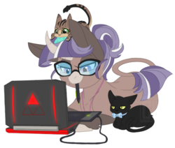 Size: 500x424 | Tagged: safe, artist:curiouskeys, oc, oc only, oc:curious keys, cat, hinny, pony, unicorn, computer, curved horn, glasses, laptop computer, ponysona, simple background, transparent background