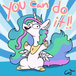 Size: 4200x4200 | Tagged: absurd res, alicorn, artist:greyscaleart, crown, derp, female, hoof shoes, jewelry, majestic as fuck, mare, motivational, pony, positive message, positive ponies, princess celestia, regalia, safe, short legs, smiling, solo, sunburst background