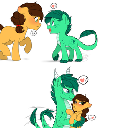 Size: 900x1020 | Tagged: safe, artist:h0mi3, oc, oc:kygo, oc:sweet apple, dracony, hybrid, awww, blushing, colt, couple, crush, duo, female, filly, heart, interspecies offspring, male, offspring, parent:applejack, parent:caramel, parent:rarity, parent:spike, parents:carajack, parents:sparity, sweet, tsundere