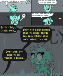 Size: 1000x1200 | Tagged: safe, artist:bjdazzle, lyra heartstrings, pony, unicorn, comic:accidental transit guardians, !!!, atg 2018, chibi, comic, dark, female, foreign language, glowing eyes, glowing horn, ice, mare, newbie artist training grounds, offscreen character, oh crap, ominous, realization, scared, shaking, shocked, solo, terrified, this will not end well, wall writing, writing