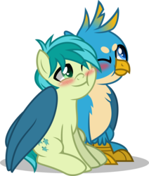 Size: 4000x4719 | Tagged: artist:orin331, blushing, cheek squish, colt, earth pony, gallbar, gallus, gay, griffon, hug, male, pony, safe, sandbar, shipping, simple background, squishy cheeks, transparent background, tsundere, winghug